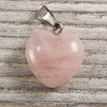 Szív medál, rózsakvarc, 15 mm
