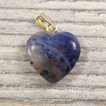 Szív medál, szodalit, 15 mm