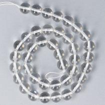 Hegyikristály alapanyagszál, golyós, 10 mm, kb. 38 cm