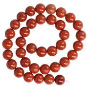 Piros jáspis alapanyagszál, golyós, 10 mm, kb. 38 cm