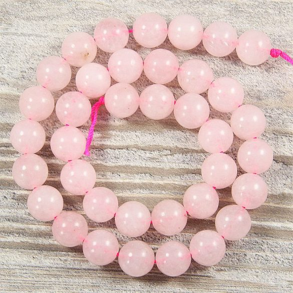 Rózsakvarc alapanyagszál, golyós, 10 mm, kb. 38 cm