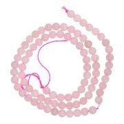 Rózsakvarc alapanyagszál, golyós, 4 mm, kb. 38 cm