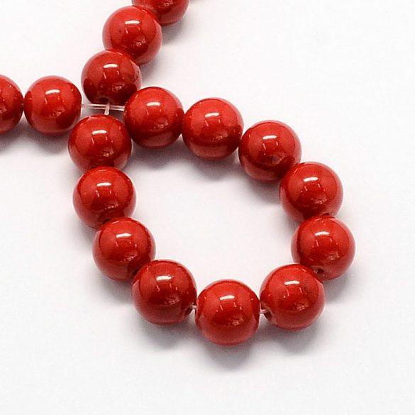 Festett jáde alapanyagszál, golyós, piros, 6 mm, kb. 38 cm