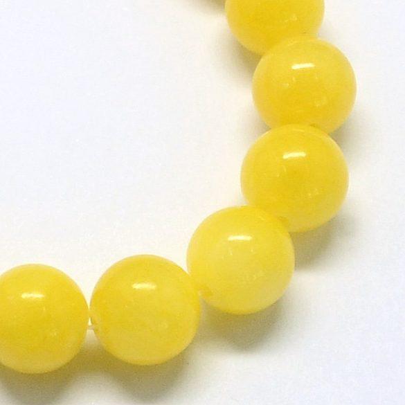 Festett jáde alapanyagszál, golyós, citromsárga, 6 mm, kb. 38 cm