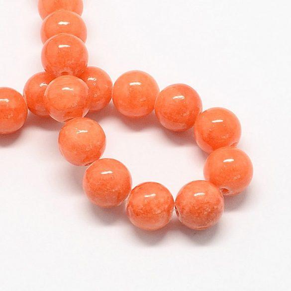 Festett jáde alapanyagszál, golyós, narancssárga, 6 mm, kb. 38 cm