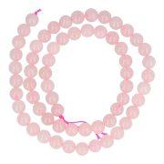 Rózsakvarc alapanyagszál, golyós, 6 mm, kb. 38 cm
