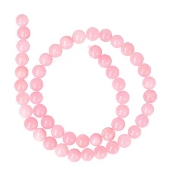 Festett jáde alapanyagszál, golyós, rózsaszín, 8 mm, kb. 38 cm