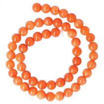 Festett jáde alapanyagszál, golyós, narancssárga, 8 mm, kb. 38 cm