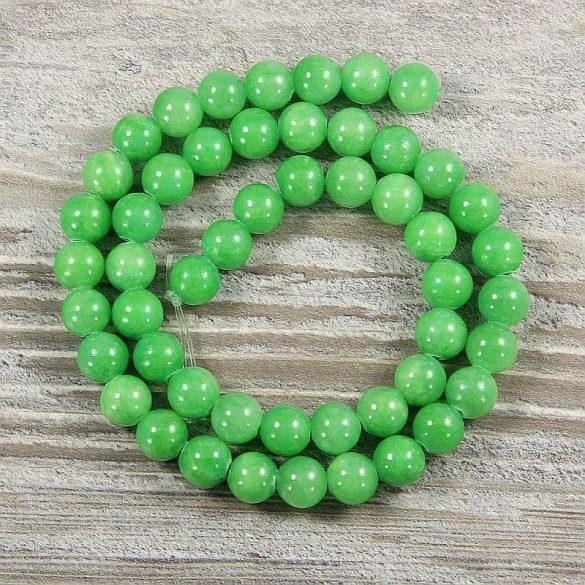 Festett jáde alapanyagszál, golyós, zöld, 8 mm, kb. 38 cm