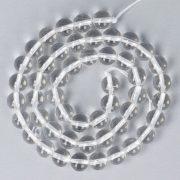 Hegyikristály alapanyagszál, golyós, 8 mm, kb. 38 cm
