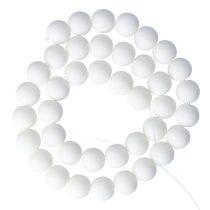 Festett jáde alapanyagszál, matt, golyós, fehér, 10 mm, kb. 38 cm