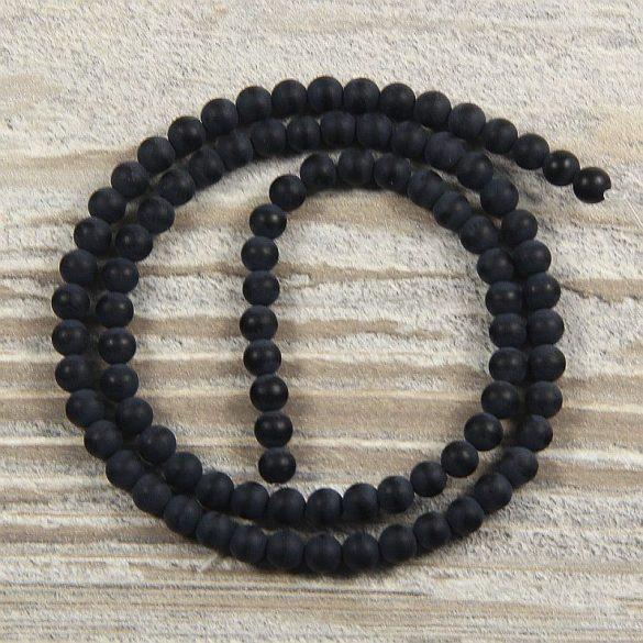 Ónix (matt) alapanyagszál, golyós, 4 mm, kb. 38 cm