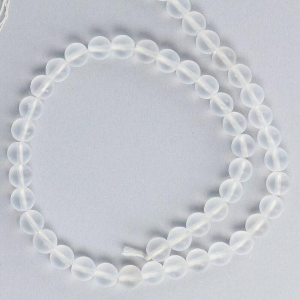 Hegyikristály alapanyagszál, matt, golyós, 8 mm, kb. 38 cm