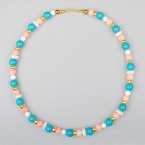 Arezzo - egyedi női ásvány nyaklánc, türkinit, kagyló, fehér festett jéde, arany hematit és rózsaszín bambuszkorall gyöngyökből