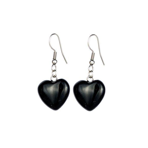 Egyedi fülbevaló, szív, kb. 15 mm, ónix