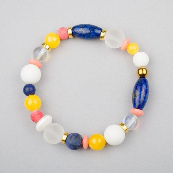 Fiori - egyedi női ásvány karkötő, lápisz lazuli, hegyikristály, jáde, szodalit és bambuszkorall gyöngyökből