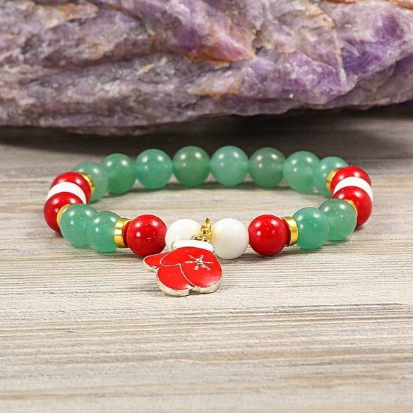 Egyedi ásvány karkötő: 8 mm-es, aventurin, festett, piros jáde, matt, fehér jade, arany színű köztes dísszel