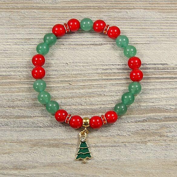 Egyedi ásvány karkötő: 8 mm-es, aventurin, festett, piros jáde, karácsonyfa medállal