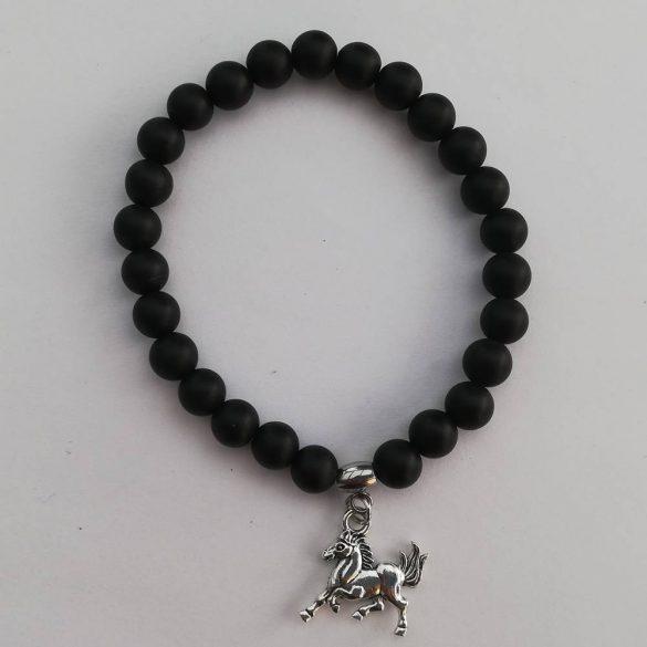 Állatbarát karkötő 06, matt fekete, választható állatmedállal