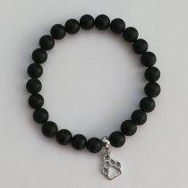 Állatbarát karkötő 08, matt fekete, választható állatmedállal