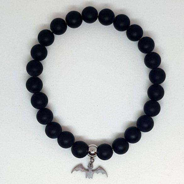 Állatbarát karkötő 07, matt fekete, választható állatmedállal
