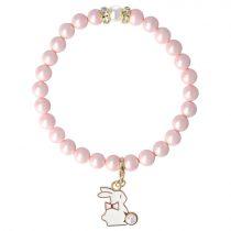 Egyedi ásvány karkötő: matt, rózsaszín, shell pearl, 8 mm, arany köves köztes dísszel, nyuszi medállal