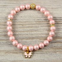 Egyedi ásvány karkötő: matt, rózsaszín, shell pearl, 8 mm, arany cirkónia köves köztes dísszel, pillangós medállal