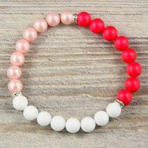 Egyedi ásvány karkötő: matt, rózsaszín és pink, 8mm, shell pearl, matt, festett, fehér jade, 3 részes, köves köztes dísszel
