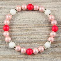 Egyedi ásvány karkötő: matt, rózsaszín és pink, 8mm, shell pearl, köves köztes dísszel
