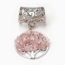 Életfás medál, sálgyűrűvel, rózsakvarc, kb. 68 mm (1 db)
