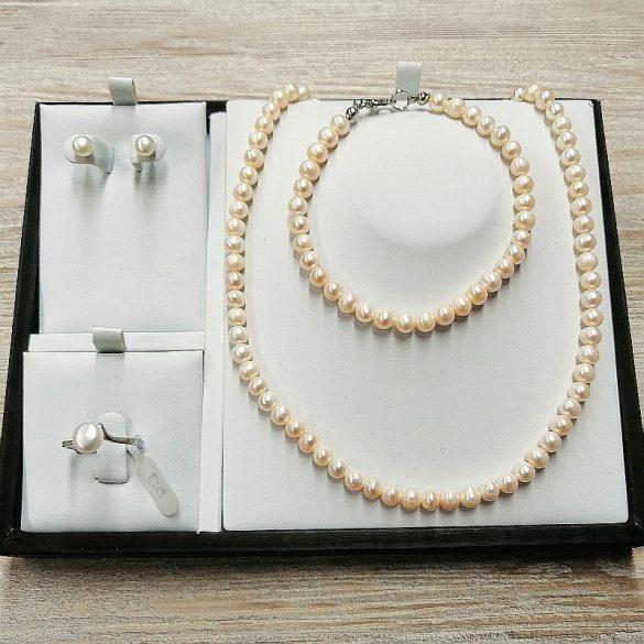 Potátó fehér tenyésztett gyöngy garnitúra, 5-6 mm-es