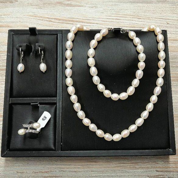 Rizsszemű fehér tenyésztett gyöngy garnitúra, 7-7,5 mm-es