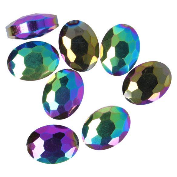 Fazettált üveg, ovális, kb. 12x16 mm, színes