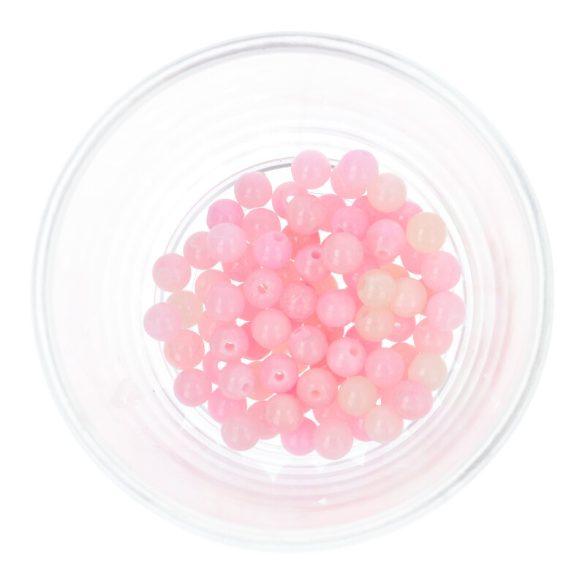 Festett jáde golyó, rózsaszín, 6 mm
