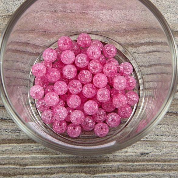 Roppantott üveg golyó, rózsaszín, 6 mm