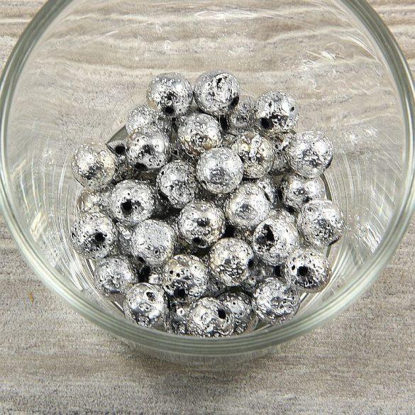 Lávakő golyó, ezüst (1), 8 mm