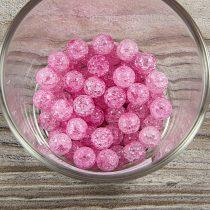 Roppantott üveg golyó, rózsaszín, 8 mm
