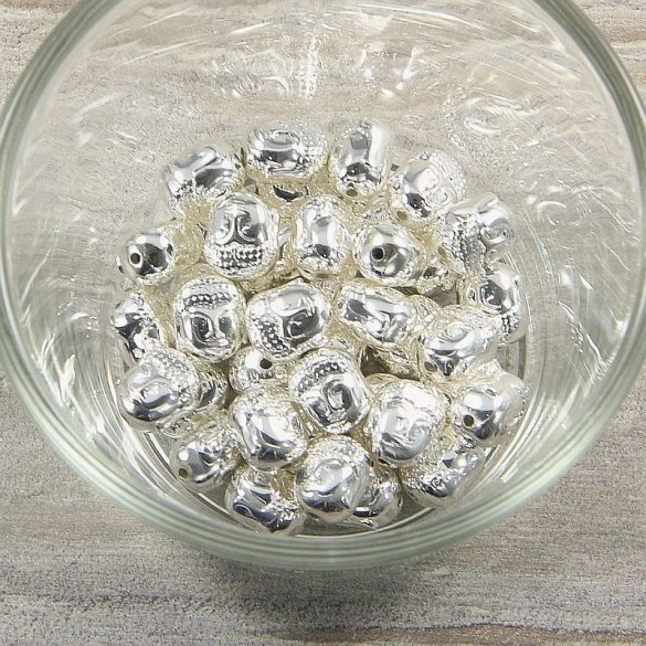Hematit buddhafej, ezüst, kb. 10 mm
