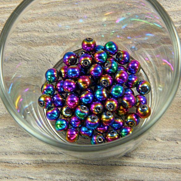 Hematit golyó, színes, 6 mm