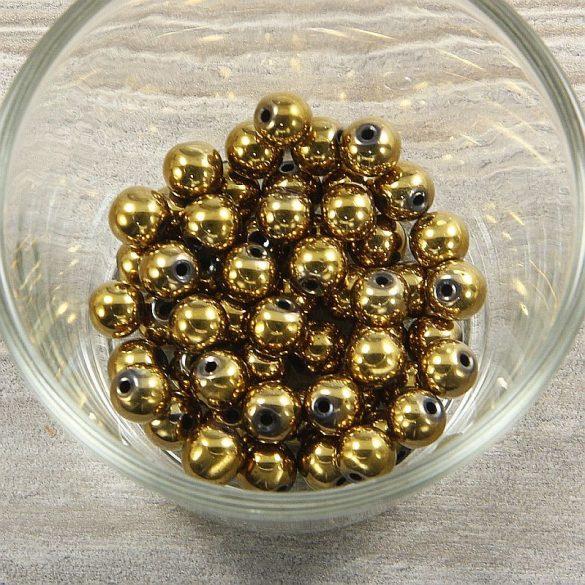 Hematit, golyó, arany, 8 mm