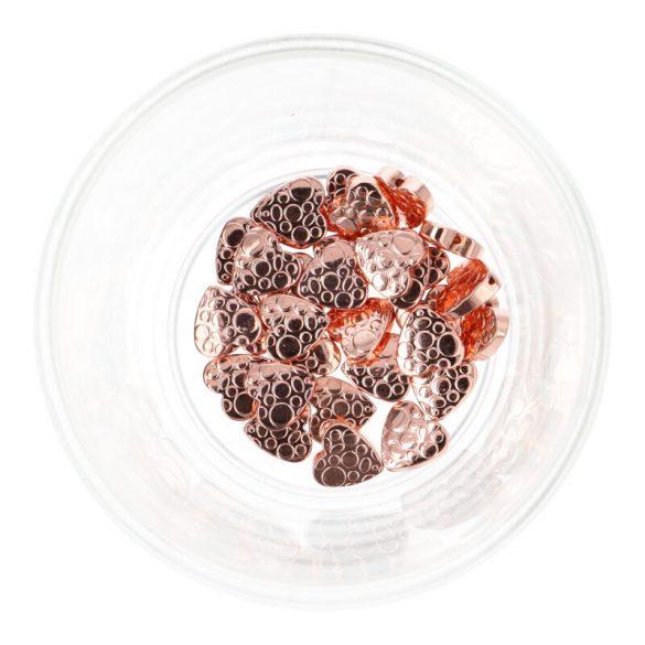 Hematit, mintás szív, rosegold, 10 mm