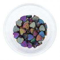 Hematit, mintás szív, színes, 10 mm