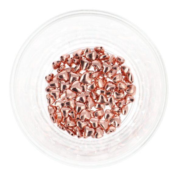 Hematit, szív, rosegold, 6 mm