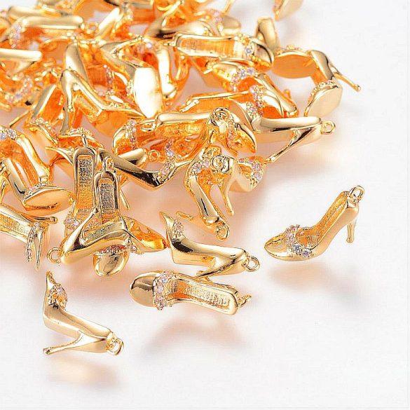 Körömcipő, köves, arany színű (1 db)
