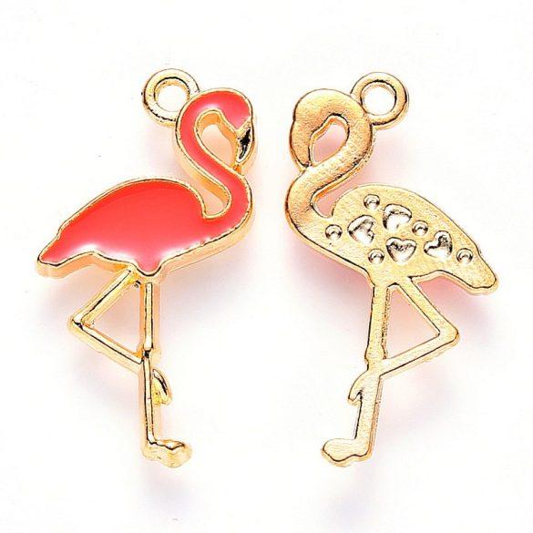 Flamingó, rózsaszín-arany, kb. 26x14 mm, (5 db)