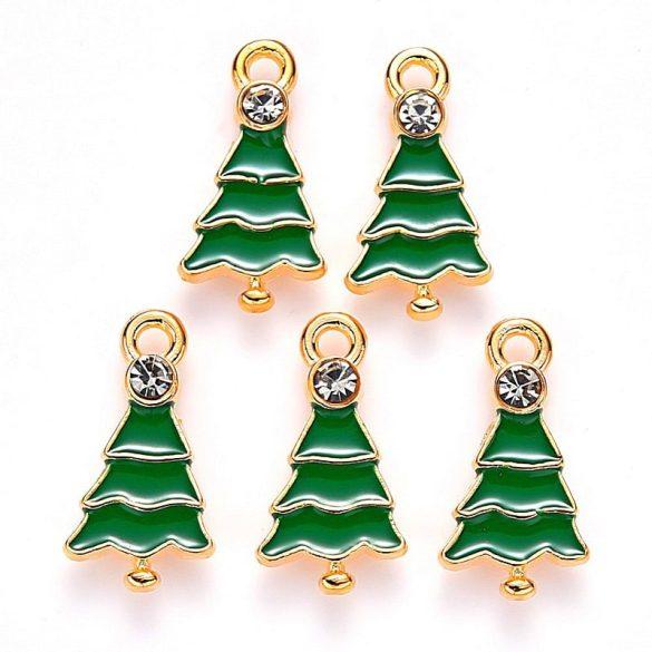 Karácsonyfa, zöld-arany kb. 21x11 mm (5 db)
