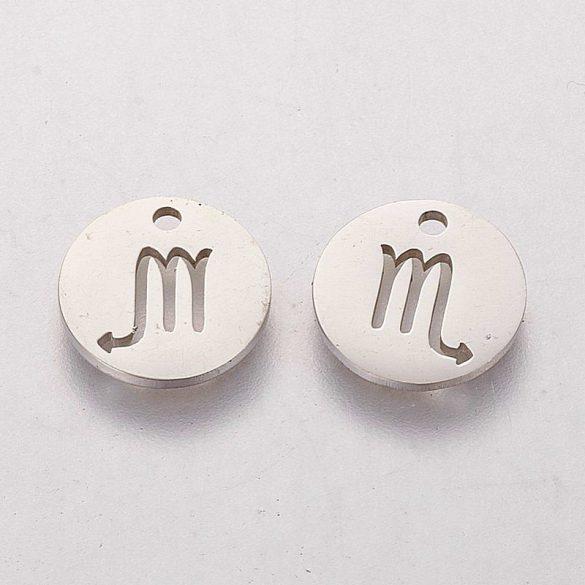 Nemesacél horoszkópos medál, Skorpió, kb. 12 mm (1 db)