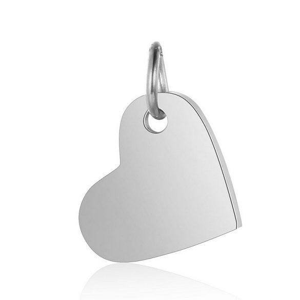 Nemesacél, szív medál, akasztóval, gravírozható, kb. 10x12 mm (1 db)