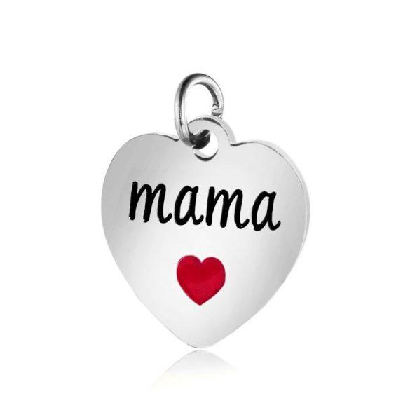 Nemesacél, szív medál,mama felirattal kb. 1,2 cm (1 db)