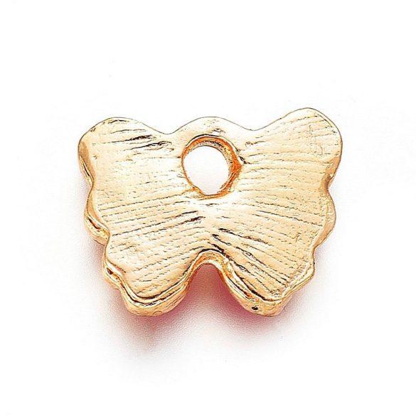 Pillangó, pink-arany, kb. 10x12 mm (2 db)